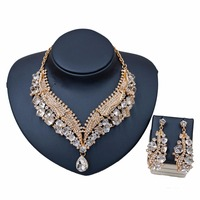 Luxury African Beads Statement Necklace Earrings Jewelry Sets for Women Rhinestones Crystal Gold Color Chain Pendant Accessories