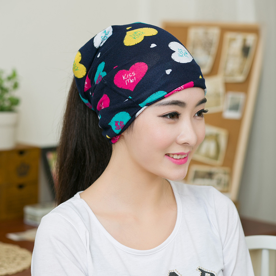 1PC Newest Spring & Autumn Women Fashion Hip-Hop Love Heart Multi Purpose Baggy Hat Scarf Colorful Heart Warm Beanie sleep professor spring love