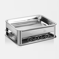 Household rectangular stainless steel grill commercial roast fish plate charcoal alcohol grill WY5311553