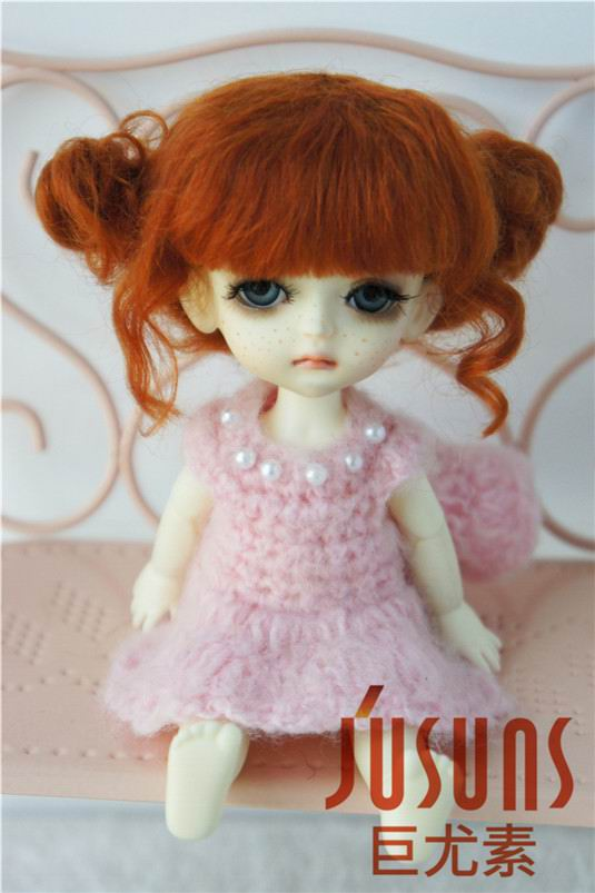 JD406 1/8 5-6 дюймов, парик для куклы BJD, кукольный парик, прекрасные мохеровые парики, Детские два пони, парик для маленькой куклы - Цвет: Carrot M8