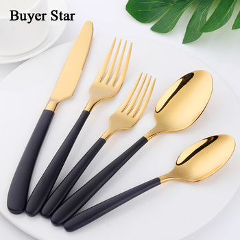 Buyer Star 20-Piece Flatware Set Stainless Steel 18/10 Cutlery Gold with Black Handle Service for 4 Home/Kitchen/Restaurant