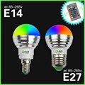 E27 E14 СВЕТОДИОДНЫЕ Лампы Лампы RGB 5 Вт AC85-265V СВЕТОДИОДНЫЙ Прожектор Blubs свет 16 цветов RGB освещение + ИК-Пульт Дистанционного Управления Магия Затемнения