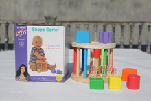 1pc Hot NEW Wooden Knob Puzzle Cube Shape Sorter with 6 colorful shapes box packing Childrens