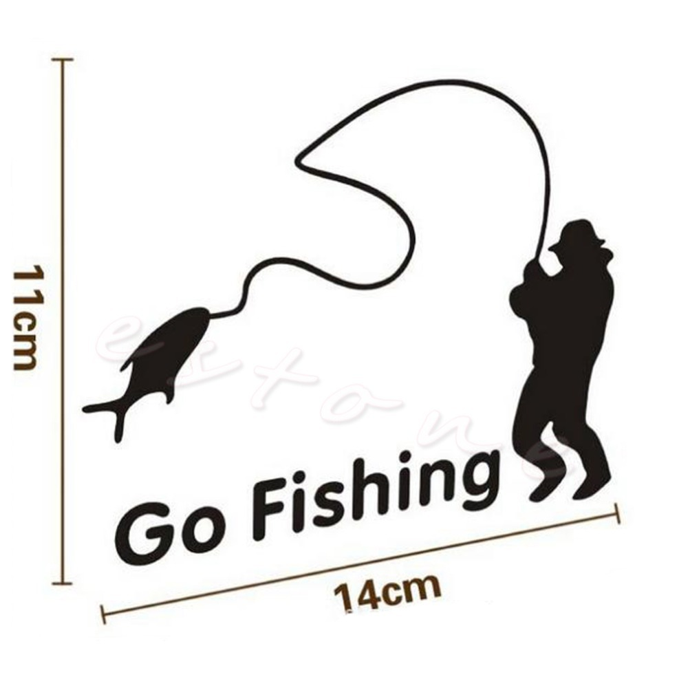 Funny Styling Car Stickers Go Fishing Outdoor for Car Accessories Decoration NEW