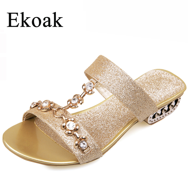 Ekoak New 2017 Fashion Women Sandals Ladies Party Dress Shoes Summer Rhinestone Cut-outs Medium Heels Shoes Woman Slippers