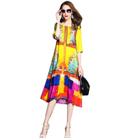 NEW Women Spring Summer Print Casual Dress Female Fashion Real Silk Colour Dress Ladies Easy 3
