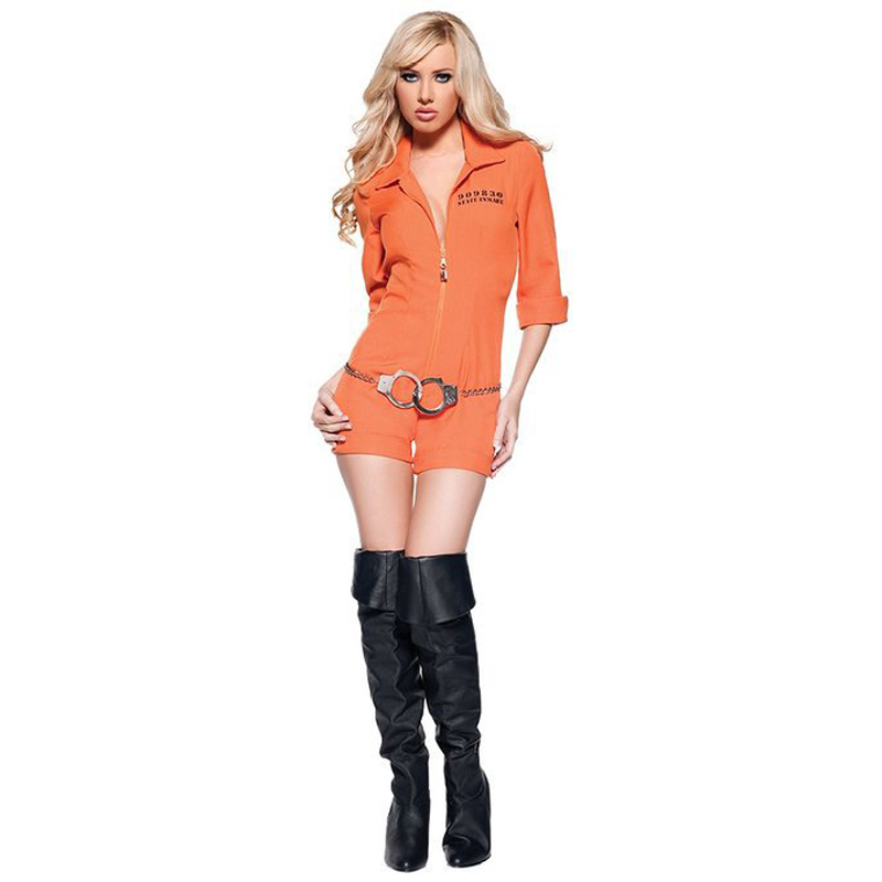Adult Women Orange Escaped Prisoner Inmate Prisoner Jumpsuit Sexy Prison Jailbird Convict Halloween Costume -in Rompers from Womenu0027s Clothing u0026 Accessories ...  sc 1 st  AliExpress.com & Adult Women Orange Escaped Prisoner Inmate Prisoner Jumpsuit Sexy ...