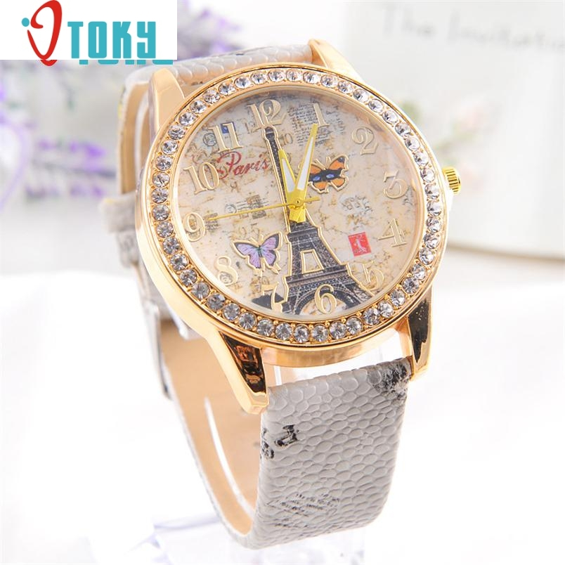 women watches Ladies Relogio Fashion Paris Style Tower Butterfly PU Leather Dropshipping