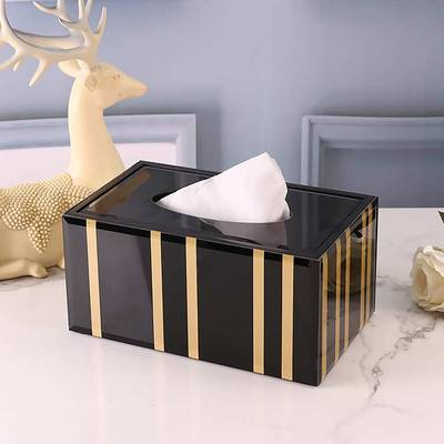 Креативная стеклянная Золотая полосатая коробка для салфеток скандинавском стиле журнальный столик для гостиной спальни макияж ящик для хранения пультов дистанционного управления пепельница - Цвет: B