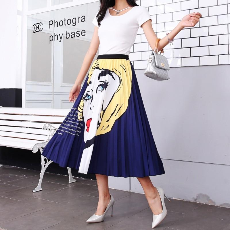 2020 New Summer Skirts Womens Butterfly Catroon Print Empire High Waist Elastci Pleated Midi Skirt European High Street Style 43
