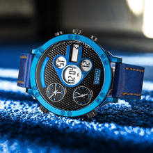6.11 New Fashion 2019 Multifunction Three Time Display Sport Watch Mens Led Watch Men Digital Watch Blue relogio masculino