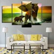 Elephant Family Play in Water Sunset Painting Canvas Printed Living Room Decor Print Poster Picture Wall Art Wholesale
