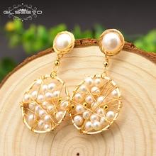 XlentAg Natural Fresh Water Pearl Handmade Original Round Drop Earrings For Women Dangle Earring Fine Jewellery Oorbellen GE0710