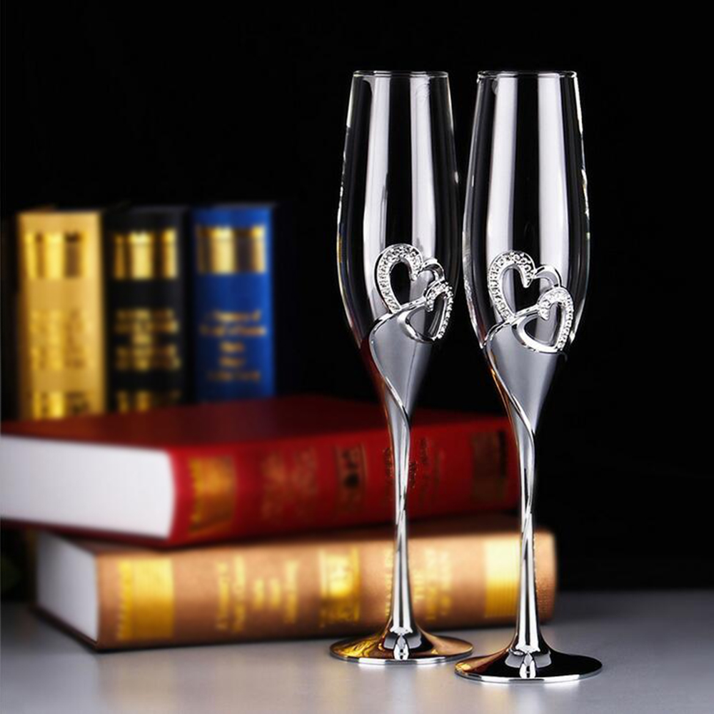 new 2pcsset 200ml long wedding champagne wine glasses crystal silver plated toasting flutes cup