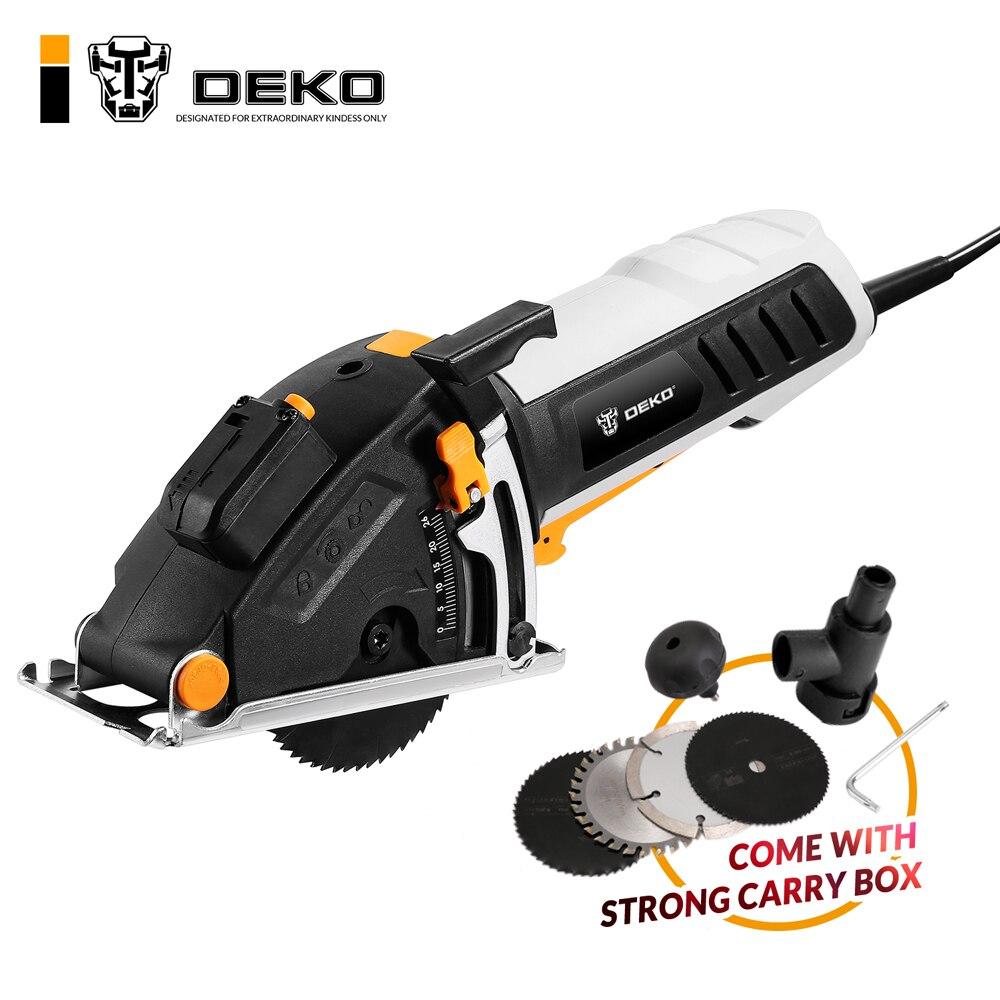 DEKO Mini scie circulaire outils électriques avec Laser, 4 lames, passage de poussière, clé Allen, poignée auxiliaire, scie électrique BMC BOX