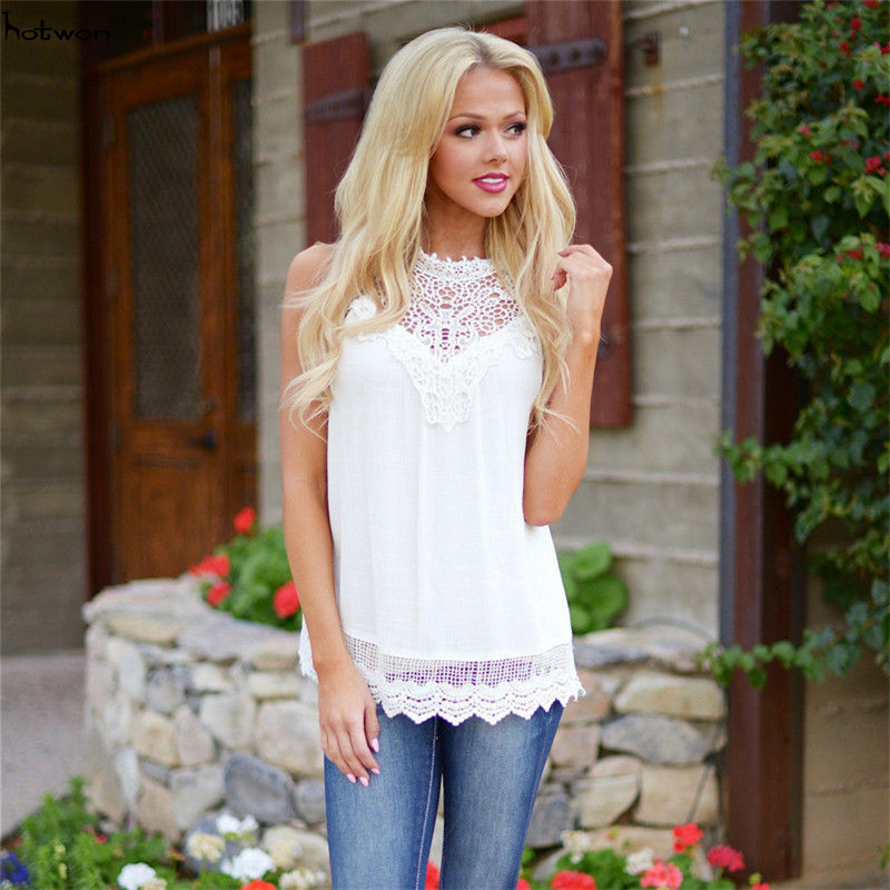 New Hot Sale Fashion Women Summer Vest   Top   Sleeveless Blouse Casual   Tank     Tops   T-Shirt Lace