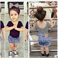 New Summer Baby Girls T-shirts  Basic Black/Striped T shirt for Girls 1-4Year