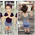 New Summer Baby Girls T-shirts  Basic Black/Striped T shirt for Girls 1-4Year