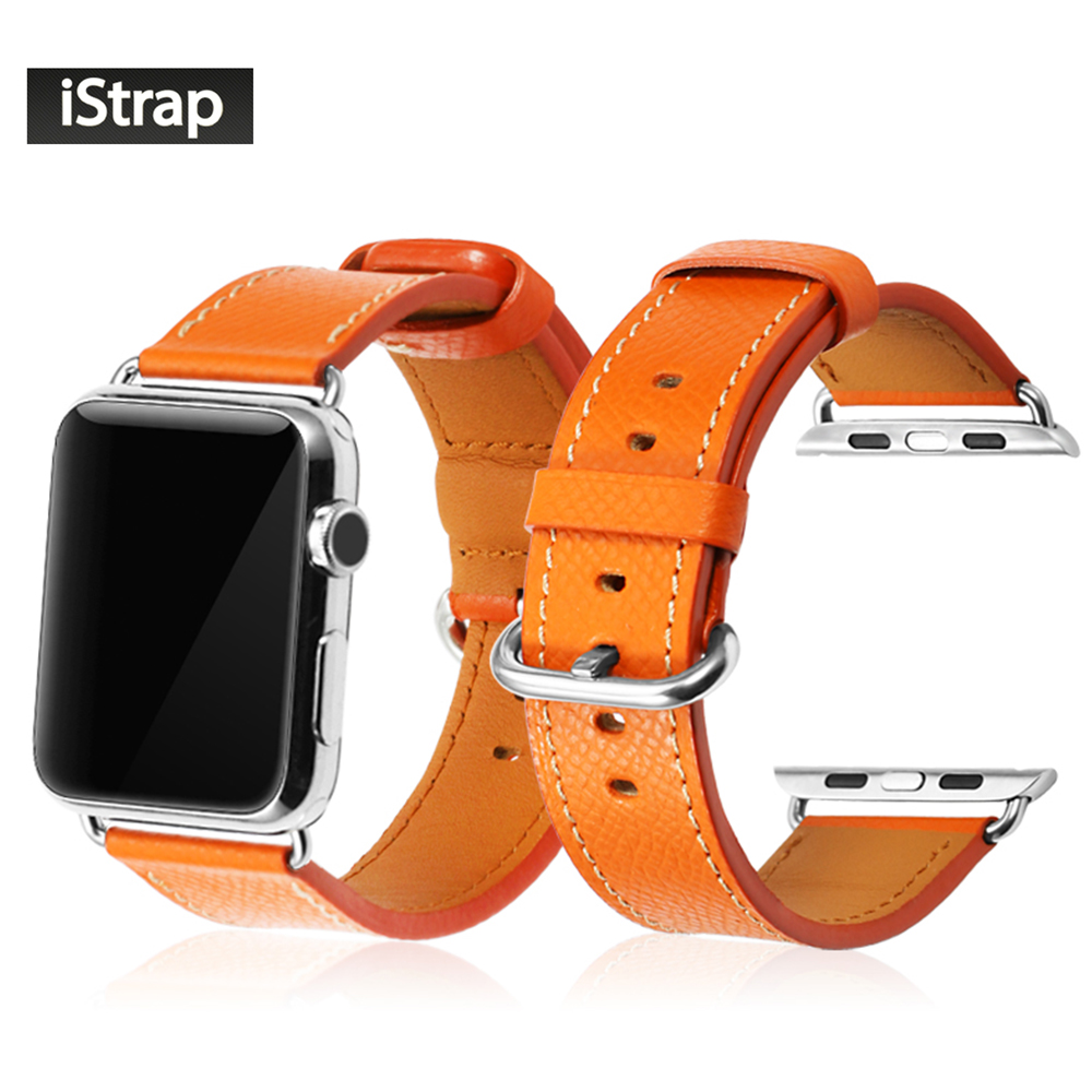 iStrap 38mm 42mm Orange Red Black Geuine Leather Strap For iWatch Series 1 2 3 Replacement Band For Apple Watch Sport Edition цены