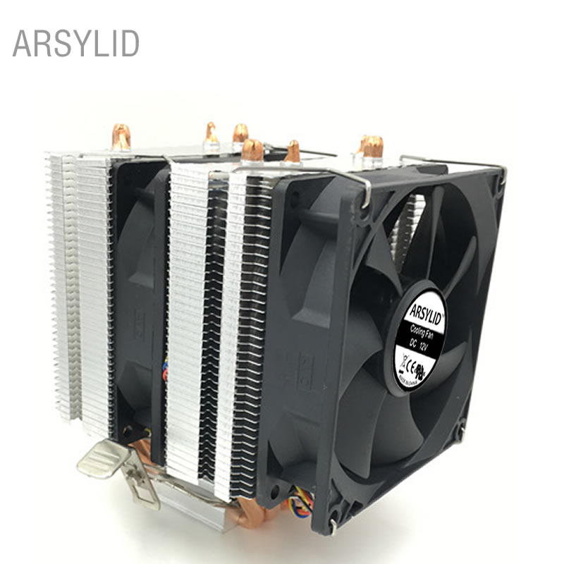 3PIN 4 heatpipes Double fan CPU cooler 9cm Doublecooling fan, support AMD,Intel LGA775 1151 1366 2011 Cooling radiator fan segotep t4 frost castle cooling system cpu cooler led lights 4 heatpipes 4 pin pwm 12mm fan 1800rpm for intel amd cpu pc case