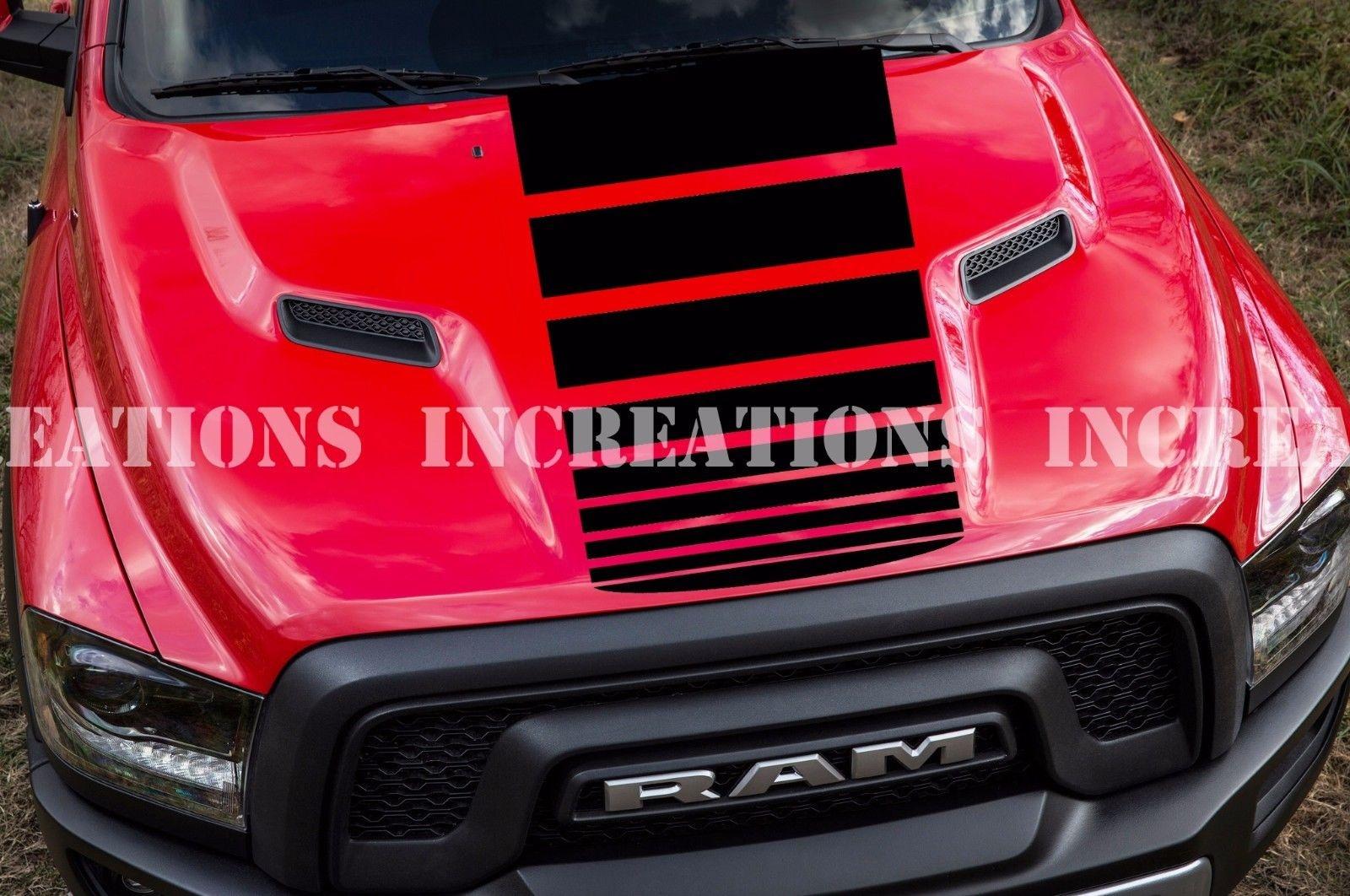 For Universal Hemi Dodge Ram Hood Decal Sticker Racing Any Truck Fading Stripe Gmc Car Stickers Aliexpress