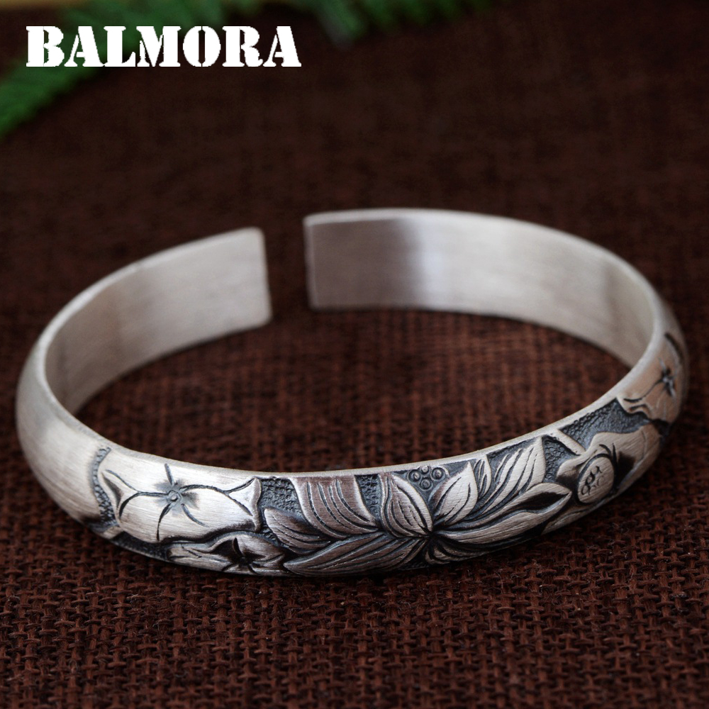 BALMORA 990 Pure Silver Lotus Flower Open Bangles for Women Mother Gift about 18cm Bracelet Jewelry Pulsera Accessories SZ0491BALMORA 990 Pure Silver Lotus Flower Open Bangles for Women Mother Gift about 18cm Bracelet Jewelry Pulsera Accessories SZ0491