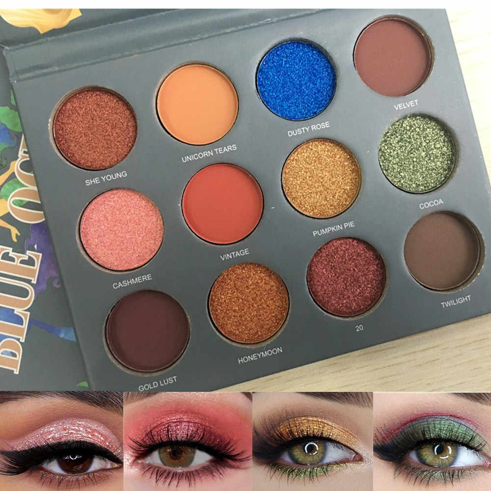 12 Warna Eyeshadow Pallet Glitter Eye Shadow Matte Nude Pigmen Tahan Lama Mudah untuk Warna Eyeshadow Eye Beauty Make Up palet