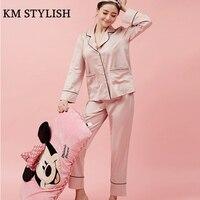 2017 New Women S Silk Satin Pajamas Set F 5050 Home Apparel Nightwear Pajamas Spring Autumn