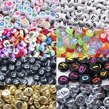 200 шт./упак. DIY круглые серебряные украшения в виде букв из игрушки номер бусы детский ручная головоломка бусины Slime 4x7 мм Пазлы Цветной акриловое волокно