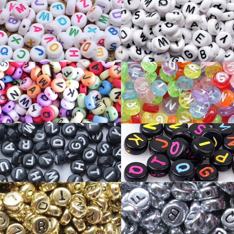 200pcs/pack DIY Round Letter Beads Toys Number Beads Children's Handmade Puzzle Beads Slime 4x7mm Puzzles Colored Acrylic