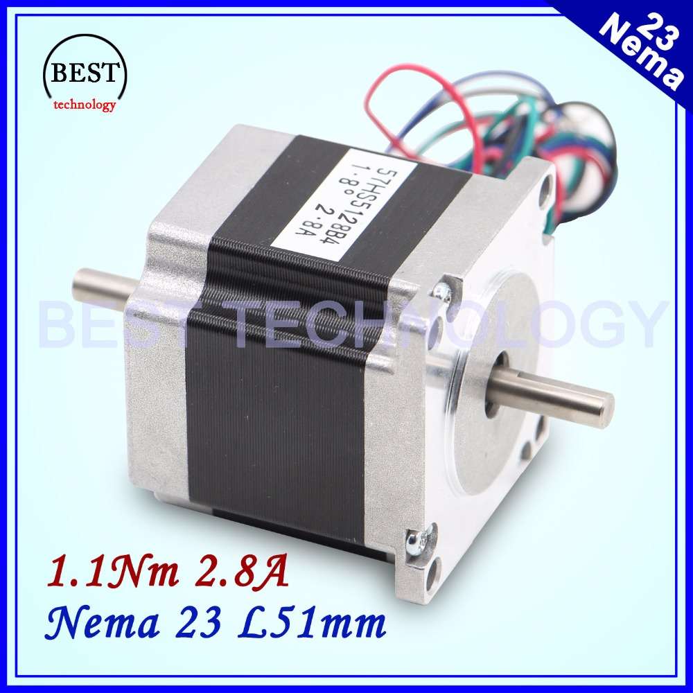 Nema23 dual shaft stepper motor 1.1Nm 2.8A 6.35mm double shaft 157Oz-in 57x51mm stepping motor for 3D printer or CNC machine