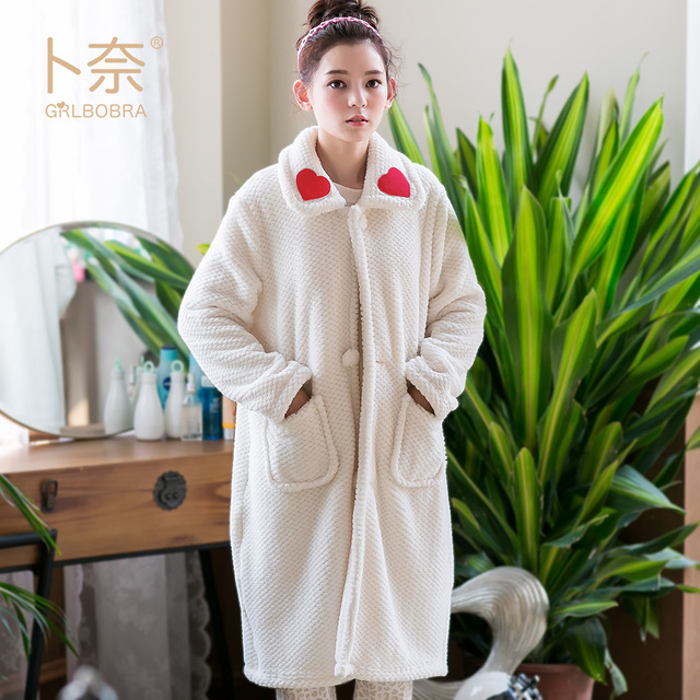 01f875c946 Grlbobra Winter new flannel robe hand embroidered heart warm home service  one piece bathrobe female-in Robes from Women s Clothing   Accessories on  ...