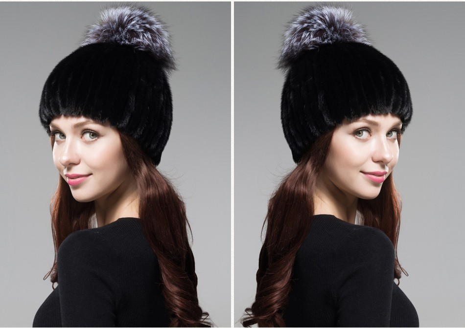 mink fur winter hats for women PCM010 (23)