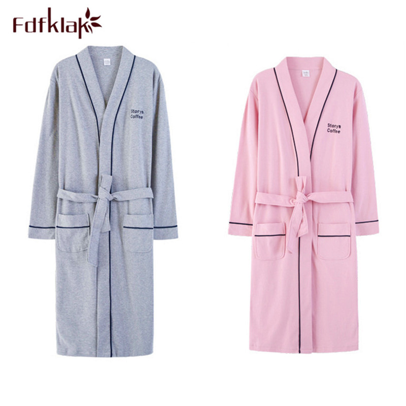 Fdfklak Autumn winter bathrobe men long sleeve cotton couple's sleepwear robe plus size lounge bath robe men kimono robes M 3XL