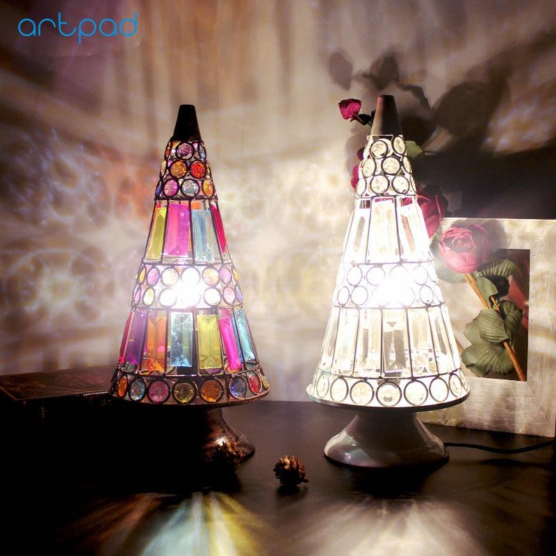 Artpad Creative Turkish Style Dressing Decorative Table Lights Umbrella E12/E14 LED Vintage Desk Lamp For Women Bedroom Wedding