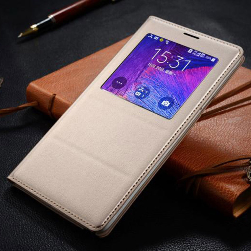 Asuwish Flip Cover LAsuwish Flip Cover Leather Case For Samsung Galaxy Note 4 Note4 N910 N910F N910H Phone Case Cover Smart View
