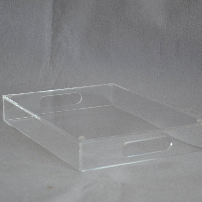 Прямоугольный прозрачный акрил сервировочные лотки с ручкой для напитков, фруктов, тортов, игрушек YAT-001-1-3