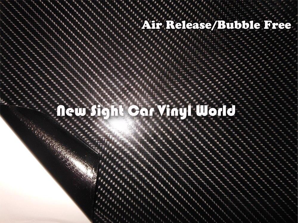 Excellente qualité noir 4D fibre de carbone vinyle pellicule de film sans bulle pour voiture autocollants taille: 1.52*30 m/Roll - 4