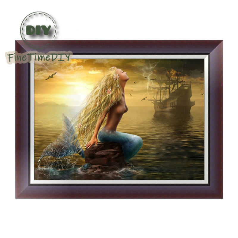 FineTime Diy Diamond Embroidered Mermaid Diamond Painting partial 5d Resin Round Diamond Mosaic Icon Embroidery Painting Sea in Diamond Painting Cross Stitch from Home Garden