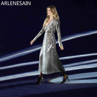 Arlenesain custom Queen Silk Metal Silver Wrap Maxi women Dress