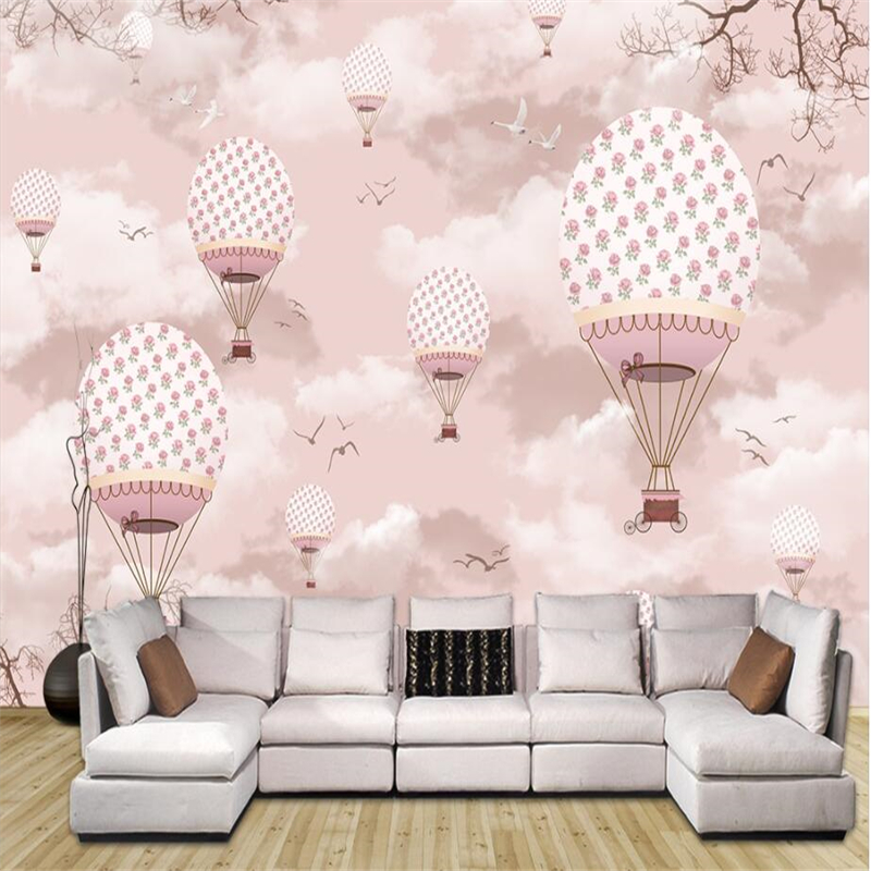 beibehang Custom 3d wallpaper cartoon hot air balloon wall paper sofa living room tv backdrop decorative painting 3d stereoscopic large mural custom wallpaper living room tv backdrop wall paper bedroom wall painting cartoon film kung fu panda