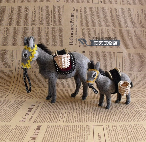 a pair of small simulation donkey toys polyethylene furs lovely donkey dolls gift