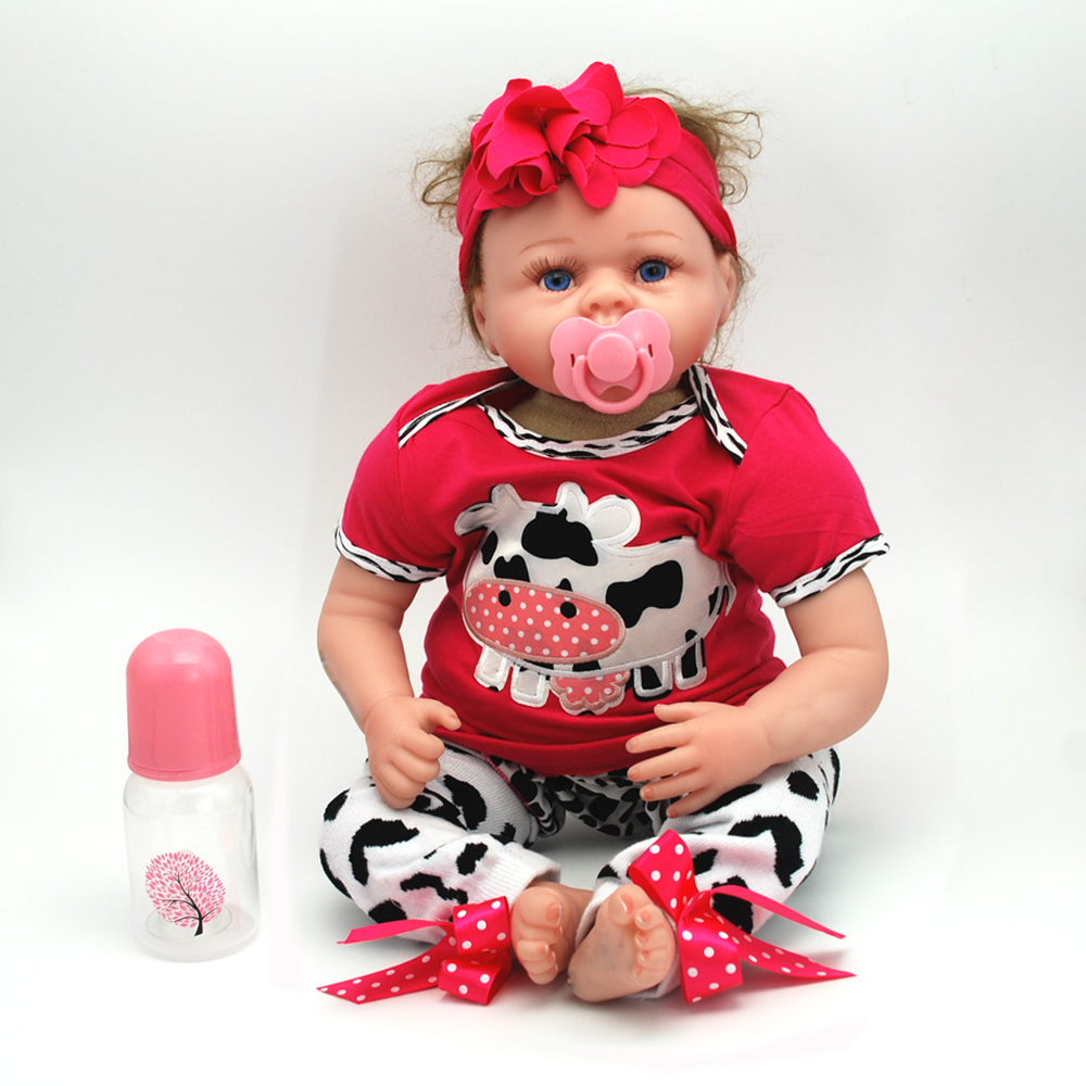 NicoSeeWonder 22 Inch Bonecas Reborn Bebe Baby Dolls Lifelike Cotton Body Reborn Toddler Toys With Purple Red Clothes For Gift short curl hair lifelike reborn toddler dolls with 20inch baby doll clothes hot welcome lifelike baby dolls for children as gift