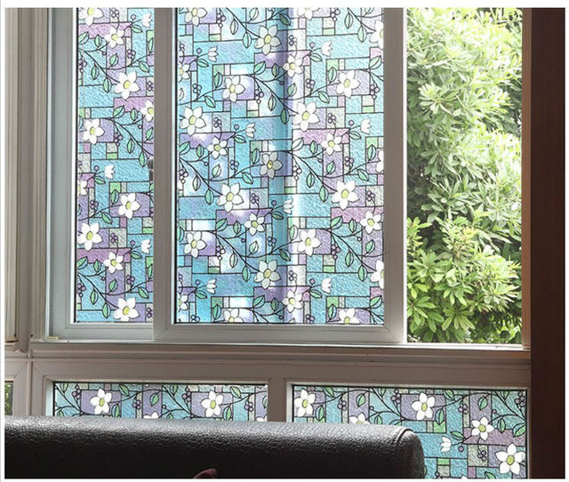 No Glue Static Glass Film Sun Insulation Window Sticker Affixed Grilles Bathroom Color Printing Free Shipping