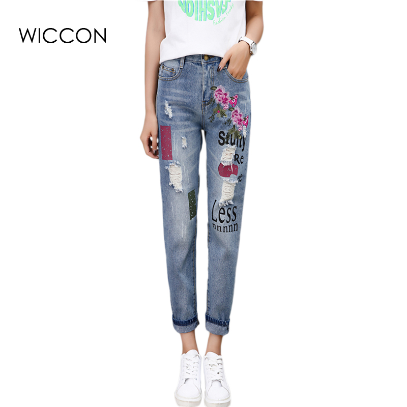 Embroidery Painted Vintage Hole Jeans Women Casual High Waist Ripped Boyfriend Jeans Denim Pants Female Trousers WICCON summer boyfriend jeans for women hole ripped white lace flowers denim pants low waist mujer vintage skinny stretch jeans female