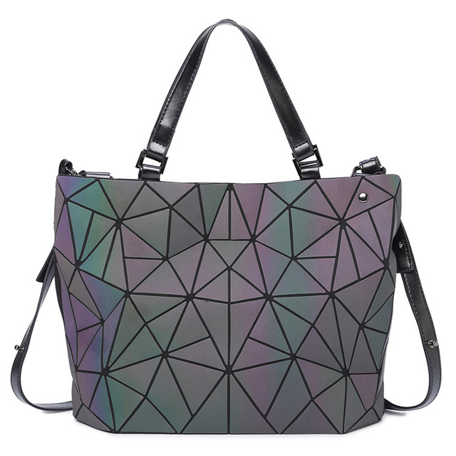 0825bfc4aad9 New Luminous Women Bags Sac Diamond Tote Geometry Ladies Shoulder Bags Laser  Plain Folding Handbags Bolso