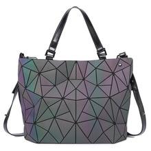 New Luminous Women Bags Sac Diamond Tote Geometry Ladies Sho