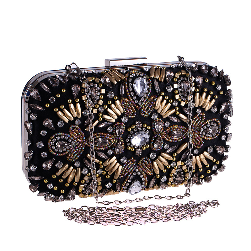 Beading Women Evening Bags Rhinestones Chain Shoulder Clutch Embroidery Diamonds Flower Metal Small Wedding Purse diamonds women evening bags chain shoulder purse handbags one side rhinestones evening clutch bags wedding party purse