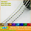 Narrow Black/White PCB5730 LED strip DC12V IP67 Waterproof 60LED/m 5.7mm / 4.7mm Width,5m/lot