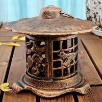 Cast Iron Hanging Lantern Antique Metal Candle Holder Home Outdoor Porch Decorations Tea Light Holder Gardening Crafts Bronze